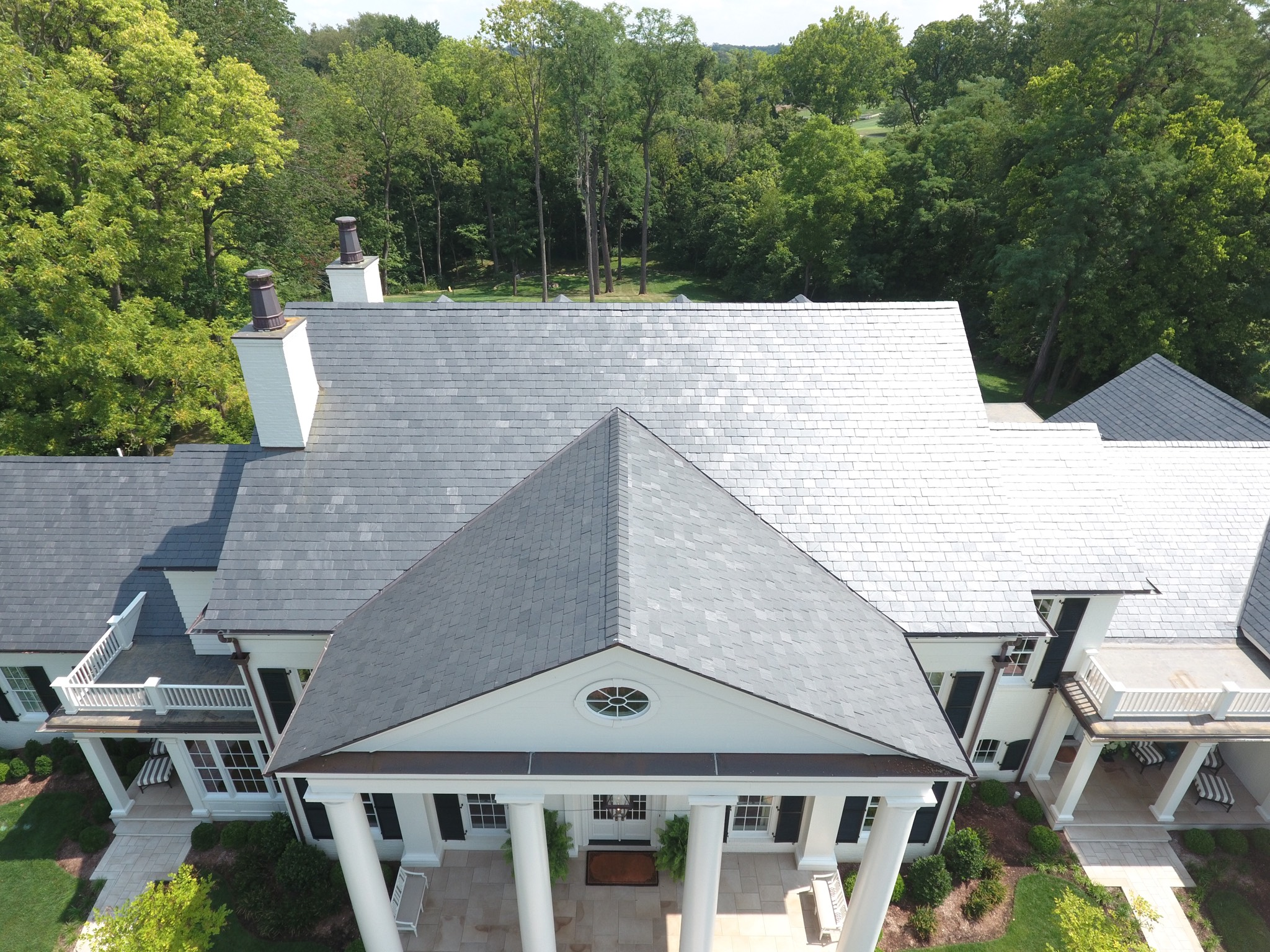 vermont slate roof with copper gutters